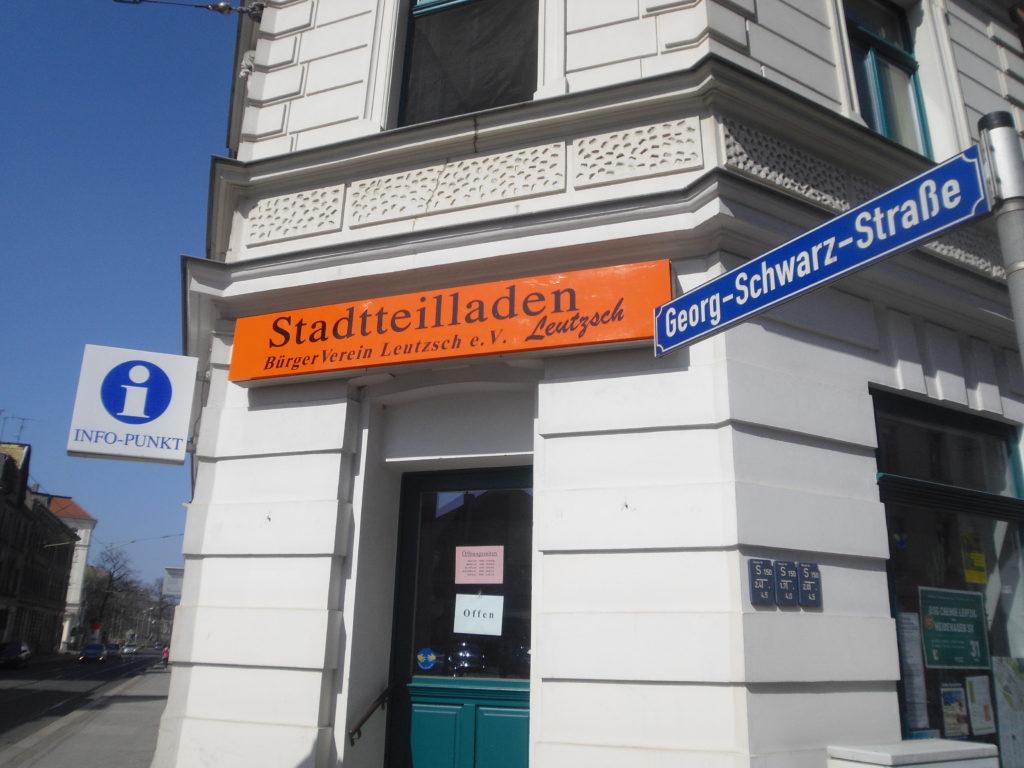 Außenansicht des Leutzscher Stadtteilladens an der Georg-Schwarz-Straße 122.
