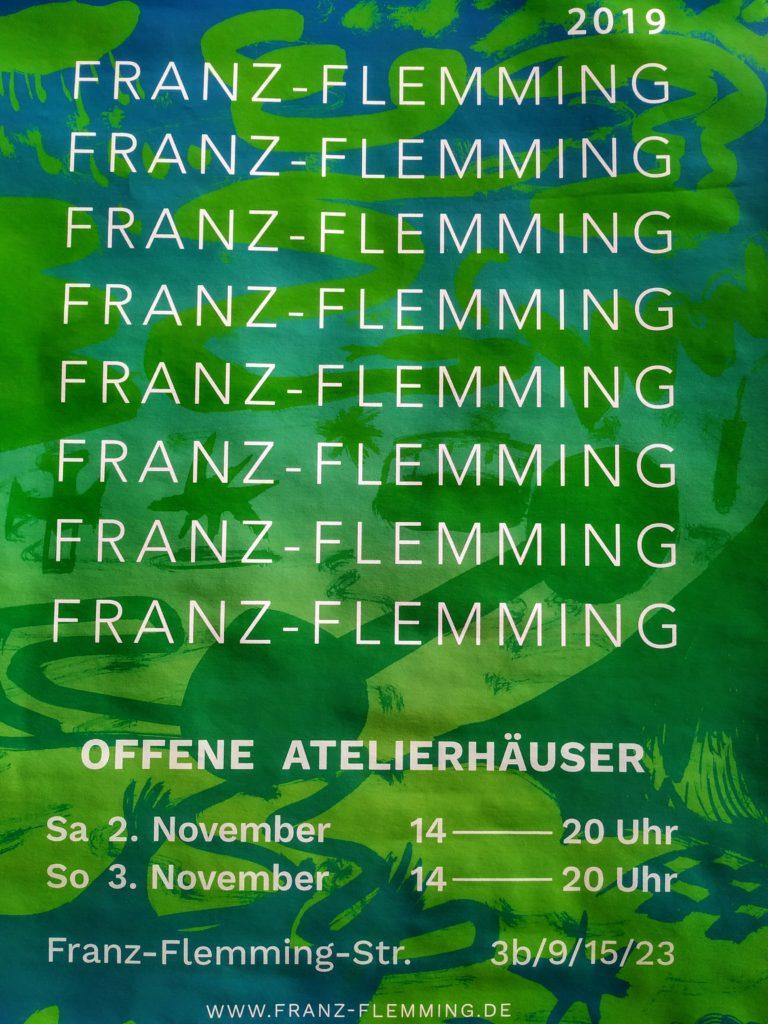 Mehrere Atelierhäuser in der Leutzscher Franz-Flemming-Straße öffnen am 02.11. und 03.11. 2019 jeweils von 14 - 20 Uhr ihre Pforten für interessierte Besucher*innen.