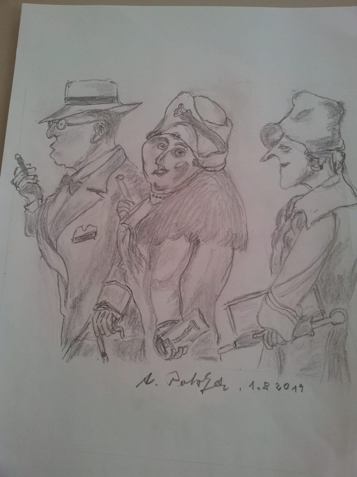 Drei gezeichnete Figuren auf einem Blatt Papier.