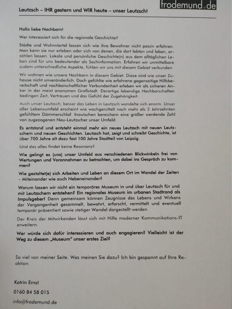 Unterstützungsaufruf für Leutzscher Museum / abfotografiert von Enrico Engelhardt