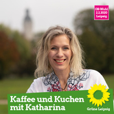 Katharina Krefft auf einem Plakat im Johannapark.