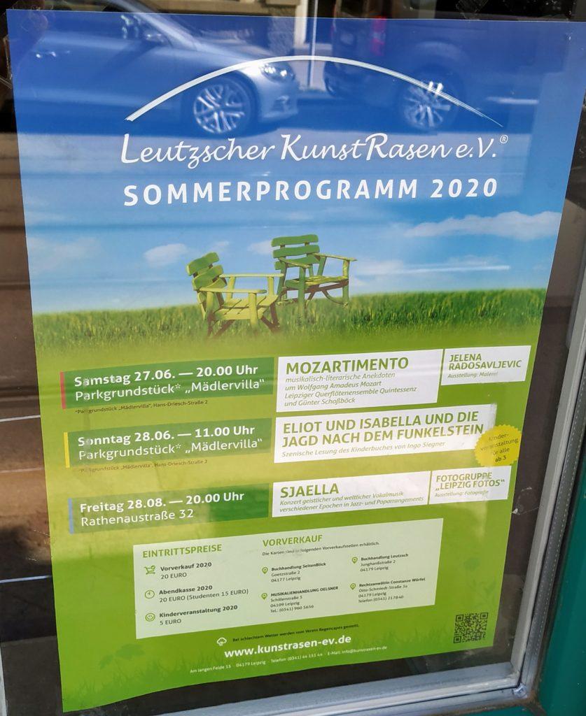 Plakat mit Veranstaltungshinweisen zum Leutzscher Kunstrasen 2020