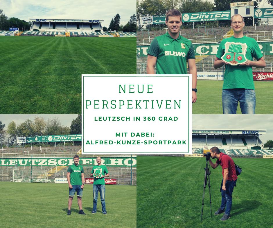 Foto-Collage vom Leutzer Stadion, einem Fotografen bei der Arbeit und zwei Menschen.