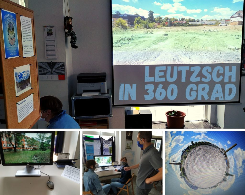 """Mehrere Fotos mit Abbildungen vom Besucherinnen und Besuchern sowie Motiven der """"Leutzsch in 360 Grad""""-Ausstellung."""
